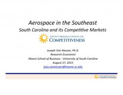 August 2015 | Aerospace in the Southeast:  South Carolina and its competitive markets